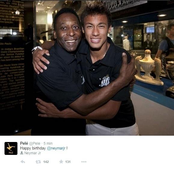 Pelé parabenizou Neymar por seu aniversário: