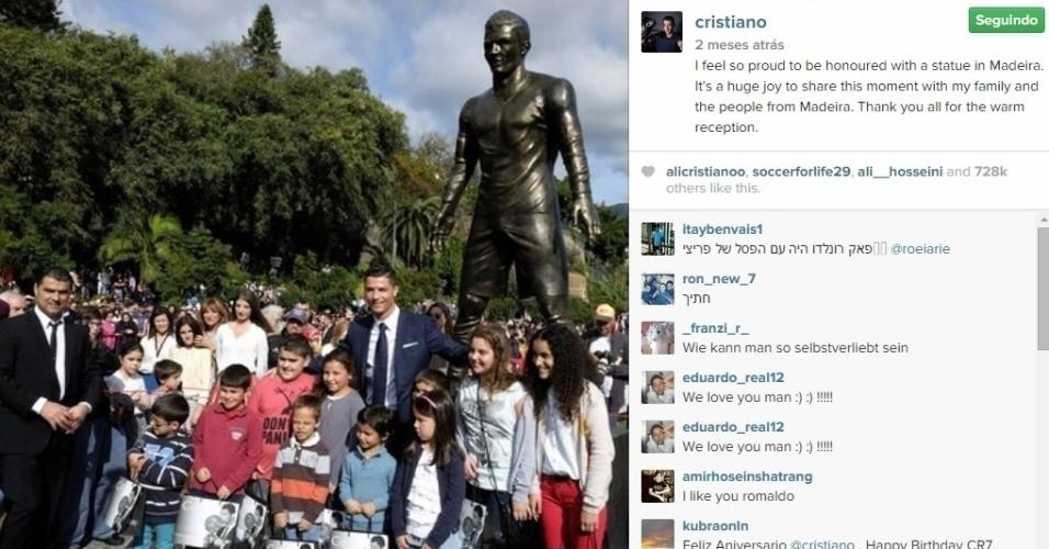 Cristiano Ronaldo ganha estátua na Ilha da Madeira