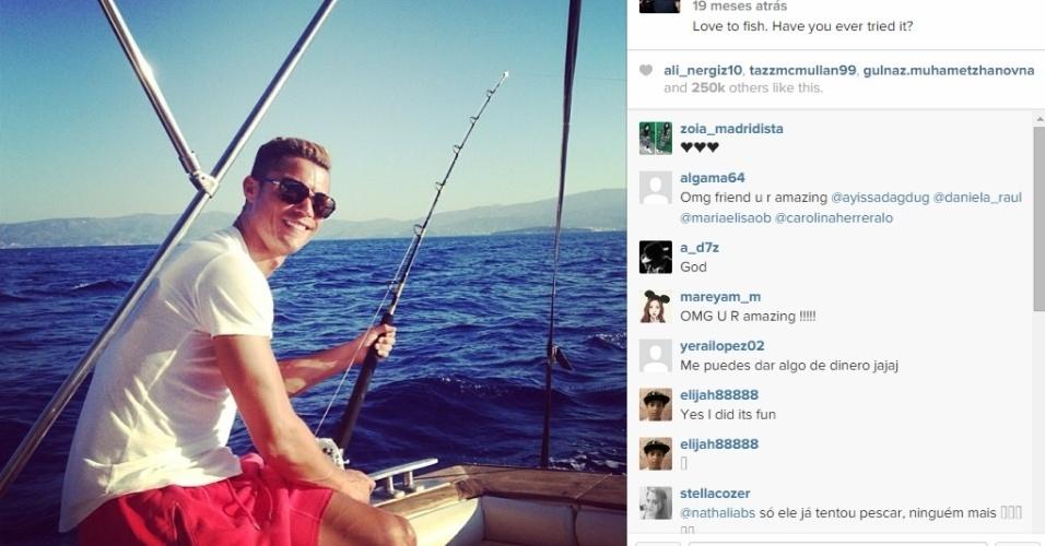 Cristiano Ronaldo pesca nas férias de final de ano
