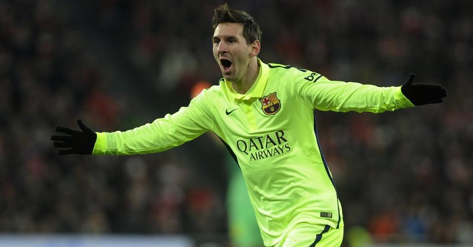 Messi comemora o seu gol marcado contra o Athletic Bilbao pelo Campeonato Espanhol