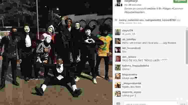 Fantasiado, Neymar também curte Carnaval na Espanha, em Sitges, cidade próxima a Barcelona - Reprodução/Instagram - Reprodução/Instagram