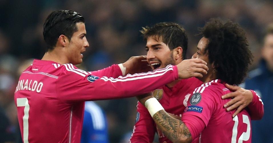 Cristiano Ronaldo, Lucas Silva e Marcelo comemoram gol do Real Madrid na Liga dos Campeões