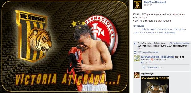 Reprodução do Facebook do The Strongest após vitória sobre o Inter - Reprodução