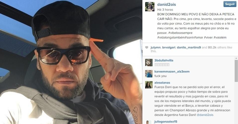 Daniel Alves posta mensagem otimista no Instagram após a derrota do Barcelona