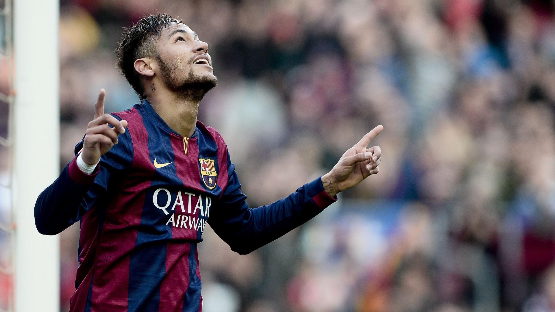 Neymar, atacante do Barcelona, comemora gol marcado contra o Levante, pelo Campeonato Espanhol