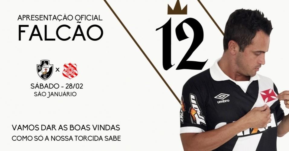 Vasco convoca torcida para prestigiar apresentação de Falcão antes de jogo contra o Bangu