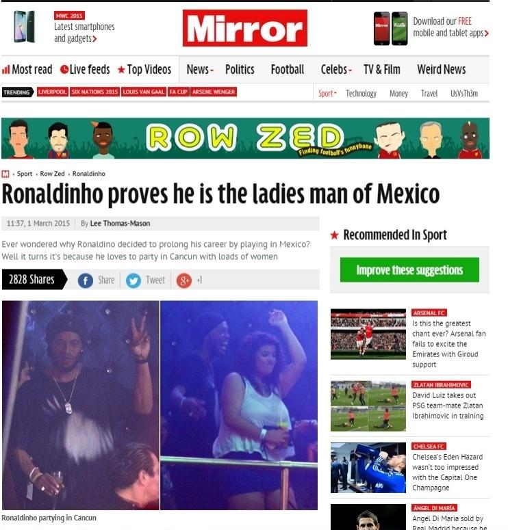 Ronaldinho Gaúcho em festa em Cancún