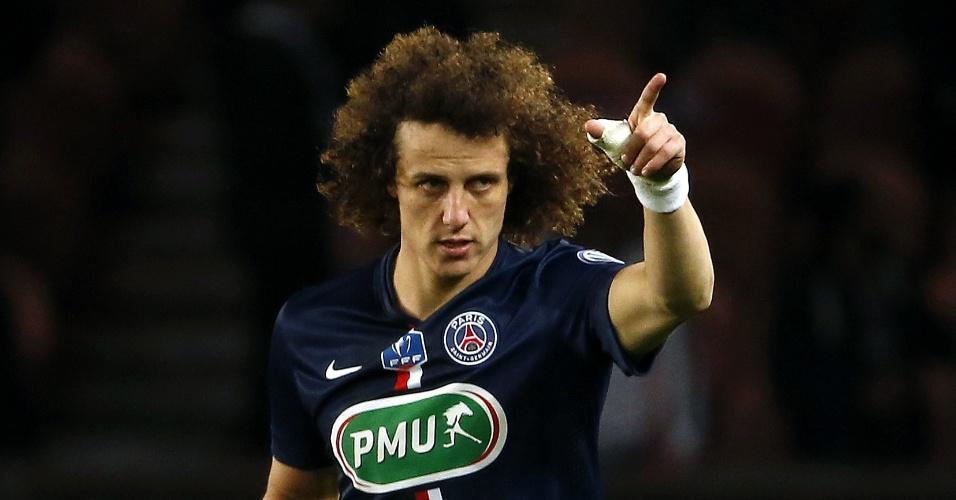 David Luiz comemora após marcar pelo PSG com apenas três minutos de jogo