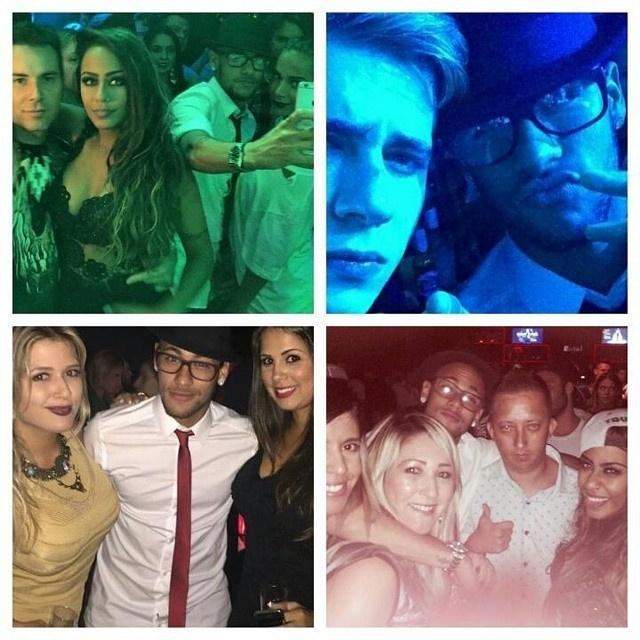 Durante a festa da irmã, Neymar foi alvo de várias fotos e