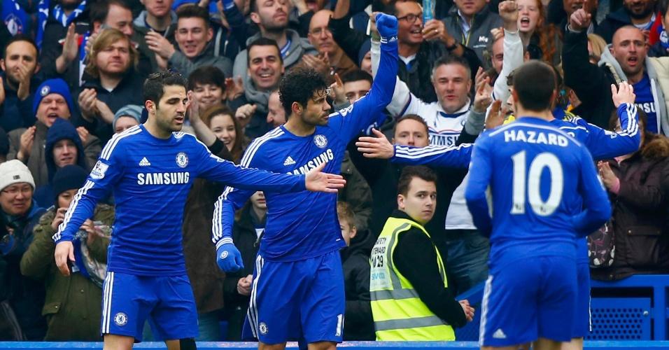 Diego Costa comemora o gol que acabou com um jejum no Campeonato Inglês que durava desde o dia 17 de janeiro