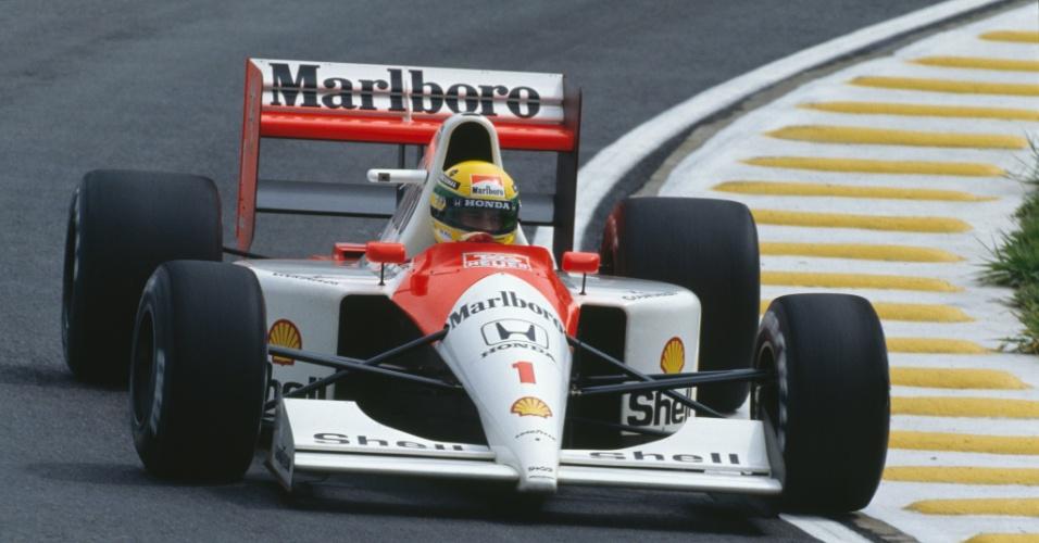 Senna durante GP do Brasil em 1991