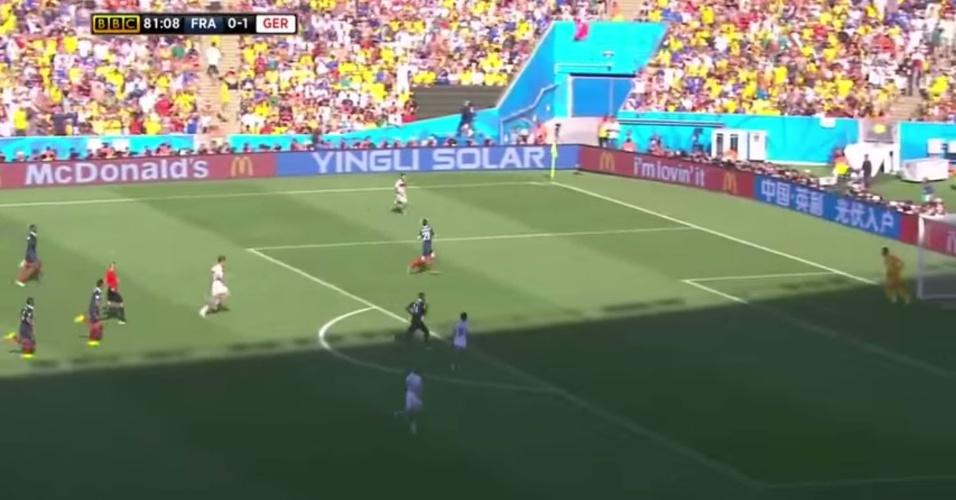 Reprodução de contra-ataque da Alemanha contra a França, em jogo das quartas da Copa de 2014
