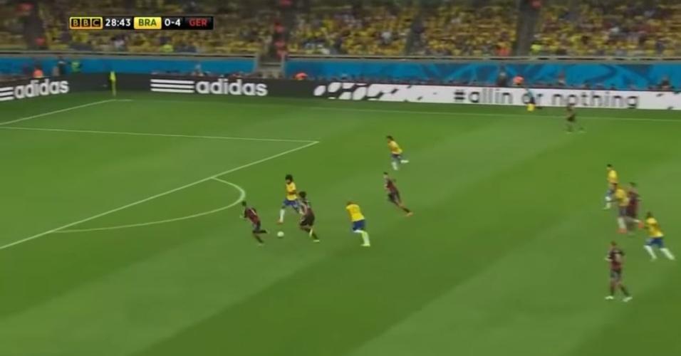 Reprodução do lance do quinto gol da Alemanha na semifinal da Copa de 2014