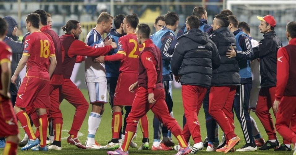 Jogadores de Rússia e Montenegro protagonizam confusão durante eliminatórias da Euro