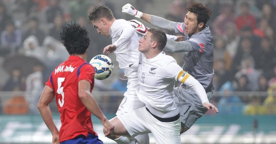 Goleiro Kim Jin-Hyeon, da Coreia do Sul, disputa bola com dois jogadores da Nova Zelândia, durante amistoso