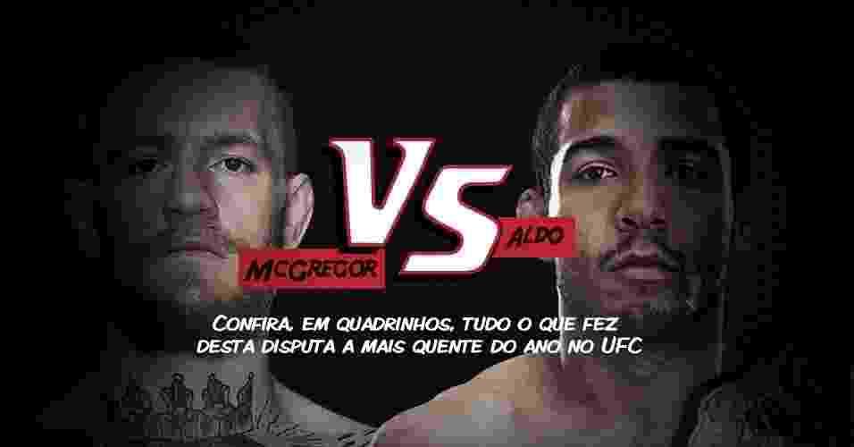 José Aldo e Conor McGregor se encaram no dia 12 de dezembro, em Las Vegas, em disputa do cinturão dos penas - Arte/UOL