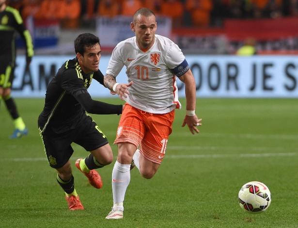 Sneijder anotou dois gols contra o Brasil no duelo pelas quartas de final da Copa de 2010