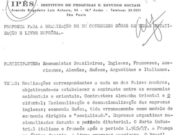 Cabeçalho do documento do Ipês de 1964 que é assinado por Luiz Cássio dos Santos Werneck