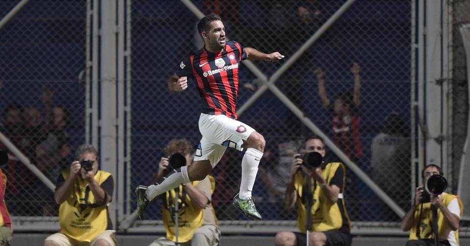 Cauteruccio comemora gol marcado do San Lorenzo contra o São Paulo, na Libertadores