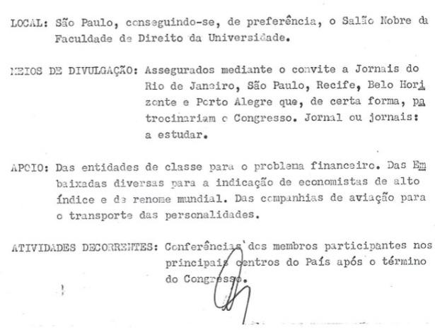 Descrição do local, da divulgação, do apoio financeiro e das atividades decorrentes do Congresso do Ipês proposto por Luiz Cássio dos Santos Werneck