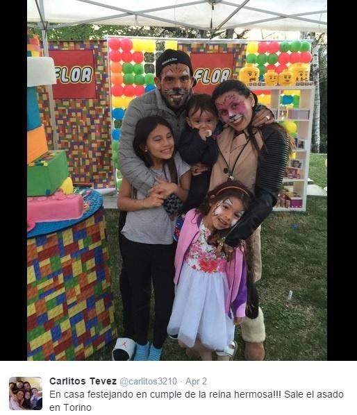 Carlos Tevez comemora aniversário de sua filha, em Turim