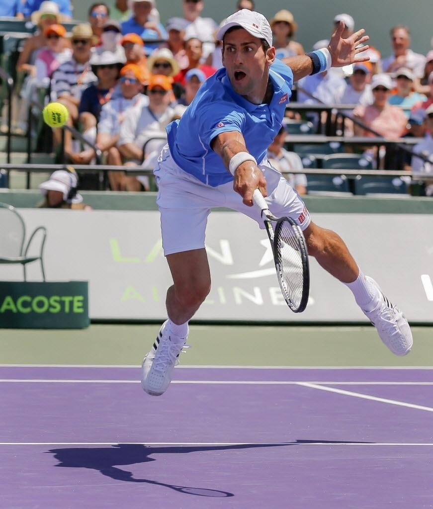 Bela imagem de Djokovic se esticando para volear uma bola