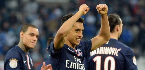 Marquinhos comemora seu gol marcado pelo PSG contra o Olympique