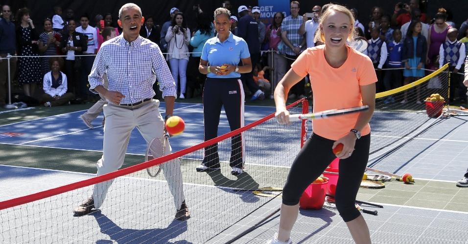 Barack Obama não perdeu a chance de comemorar os pontos conquistados contra Caroline Wozniacki a número 5 do mundo no ranking da WTA