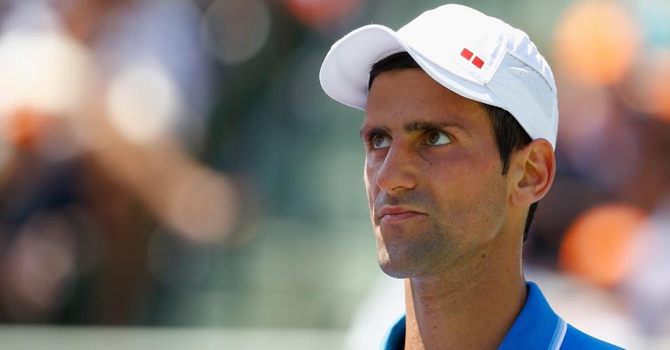 Novak Djokovic, durante a final do Masters 1000 de Miami, contra Andy Murray