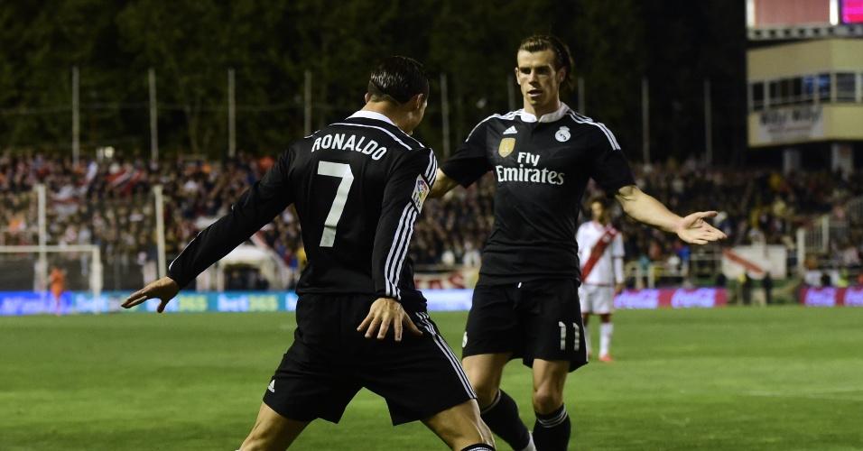 Cristiano Ronaldo comemora após marcar o primeiro gol do Real Madrid