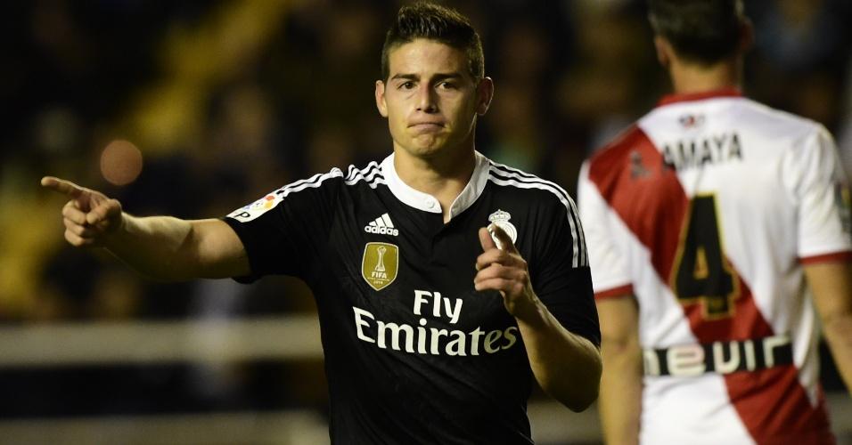 James Rodríguez comemora após marcar o segundo gol do Real Madrid