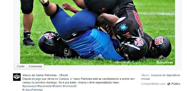 03b1176172 O time de futebol amaricano do Vasco aproveitou para provocar o Flamengo  após o clássico