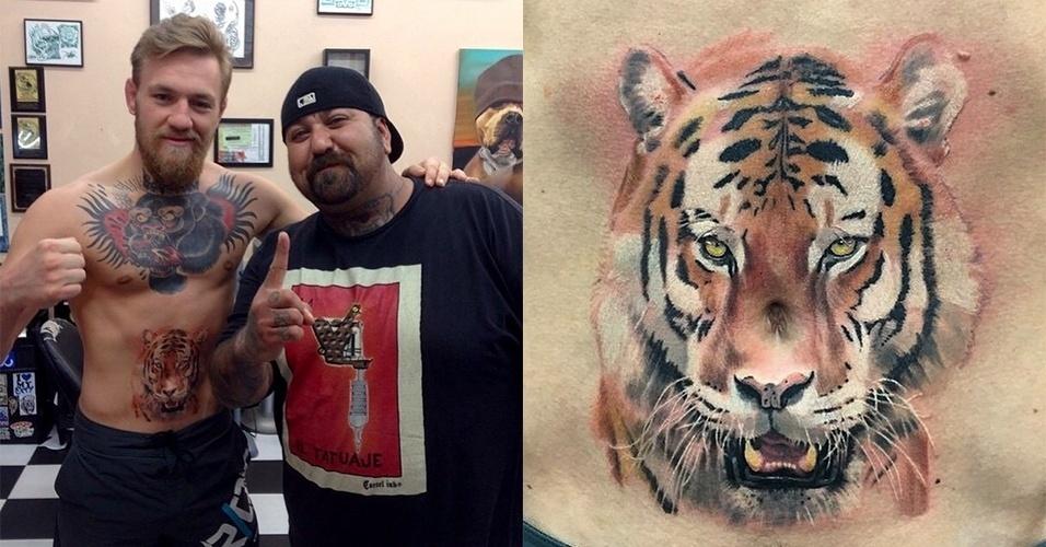 Antes de fazer uma das lutas mais aguardadas do ano no UFC contra José Aldo (em julho de 2015), o irlandês Conor McGregor, que já tinha uma grande tatuagem no peito, resolveu fazer um tigre na barriga. Mas além de o desenho não ser maravilhoso, repara que o umbigo do cara (na altura do nariz do animal) estraga a arte ainda mais