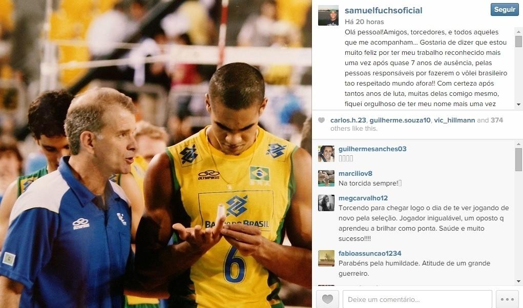 Samuel, da seleção de vôlei, pediu dispensa da equipe de Bernardinho