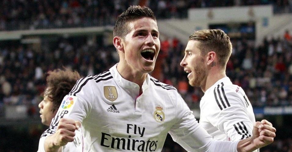 James Rodríguez comemora o segundo gol do Real Madrid contra o Málaga