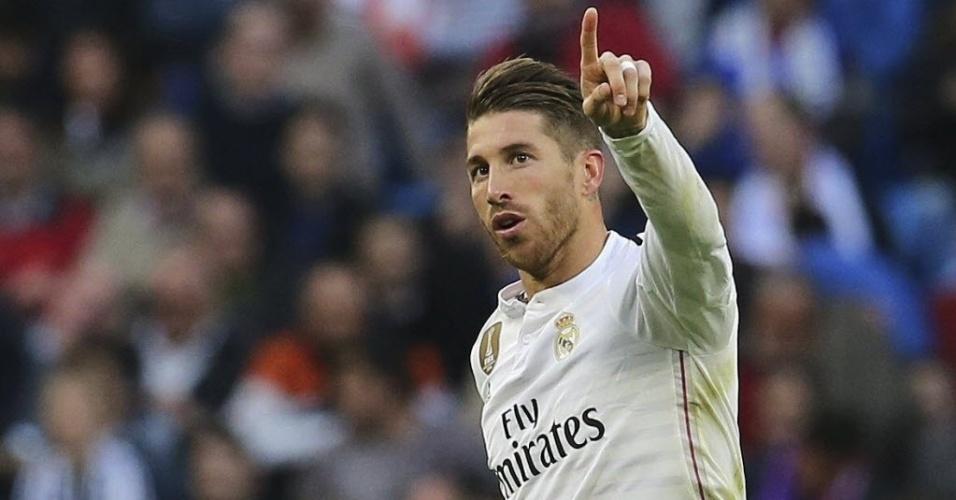 Sérgio Ramos comemora gol marcado pelo Real Madrid contra o Málaga, pelo Campeonato Espanhol