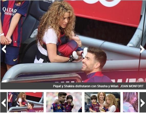 Shakira foi ao Camp Nou assistir ao jogo do Barcelona do marido Piqué e levou os dois filhos do casal