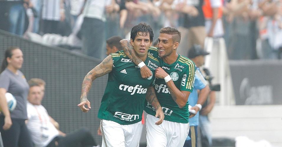 Victor Ramos comemora gol marcado no clássico Corinthians e Palmeiras, válido pela semifinal do Campeonato Paulista