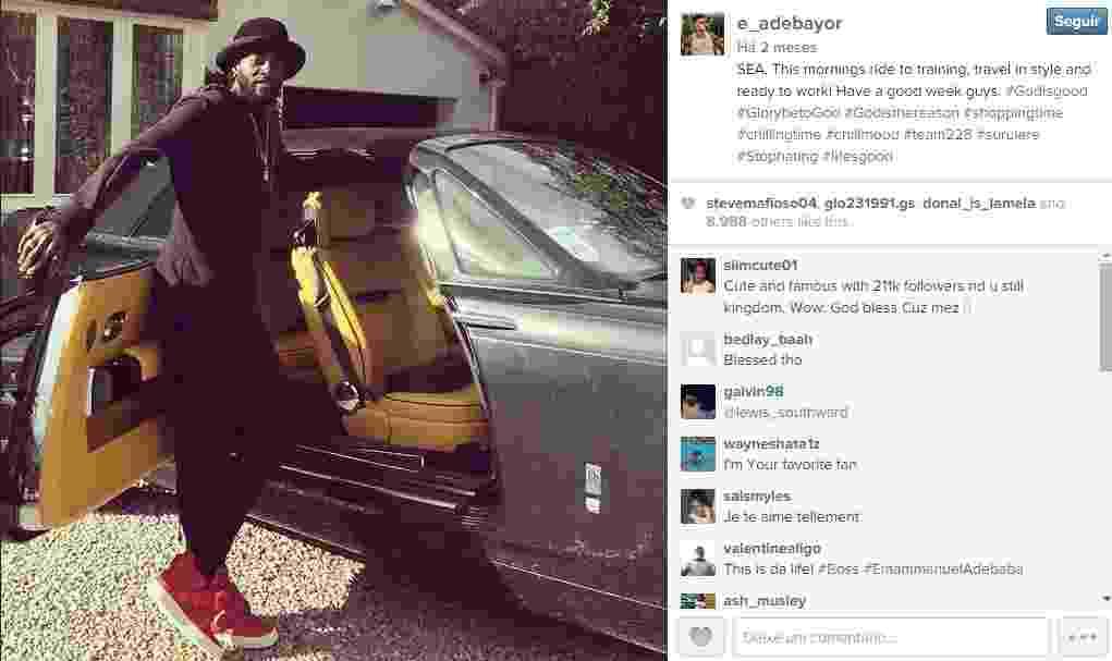 Emmanuel Adebayor mostra carrão que usa para ir aos treinos do Tottenham - Reprodução/Instagram