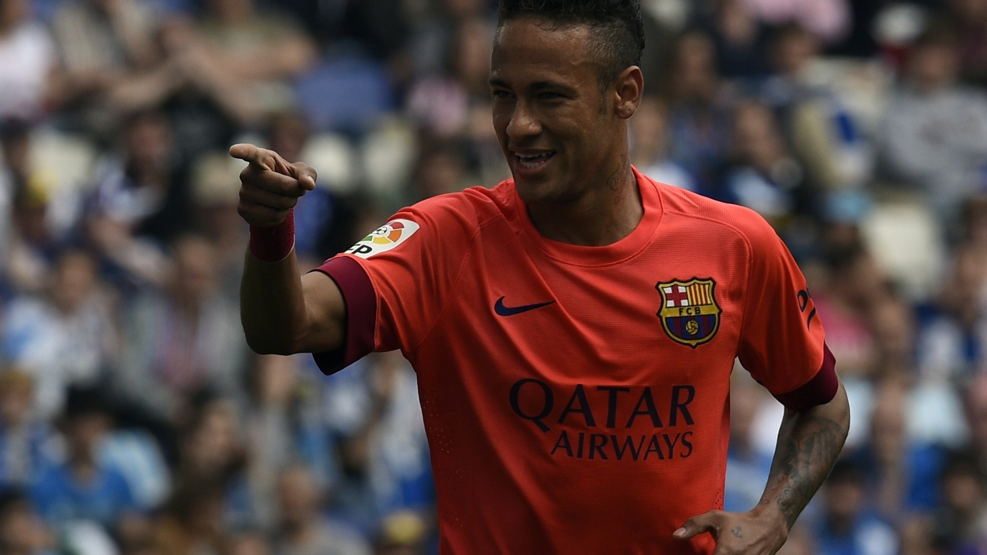 Neymar abre o placar para o Barcelona contra o Espanyol