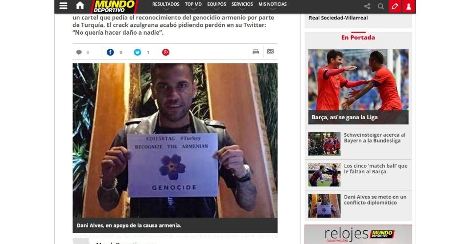 Reprodução do site do jornal Mundo Deportivo, com o tweet original em que Daniel Alves pede reconhecimento do genocídio do povo armênio