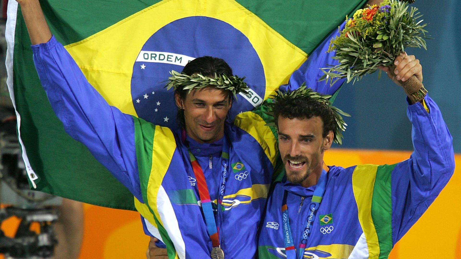 Ricardo e Emanuel no pódio nos Jogos Olímpicos de Atenas-2004