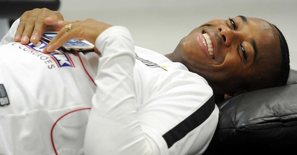 Robinho ficou apenas na academia do clube nesta quarta-feira, no CT Rei Pelé