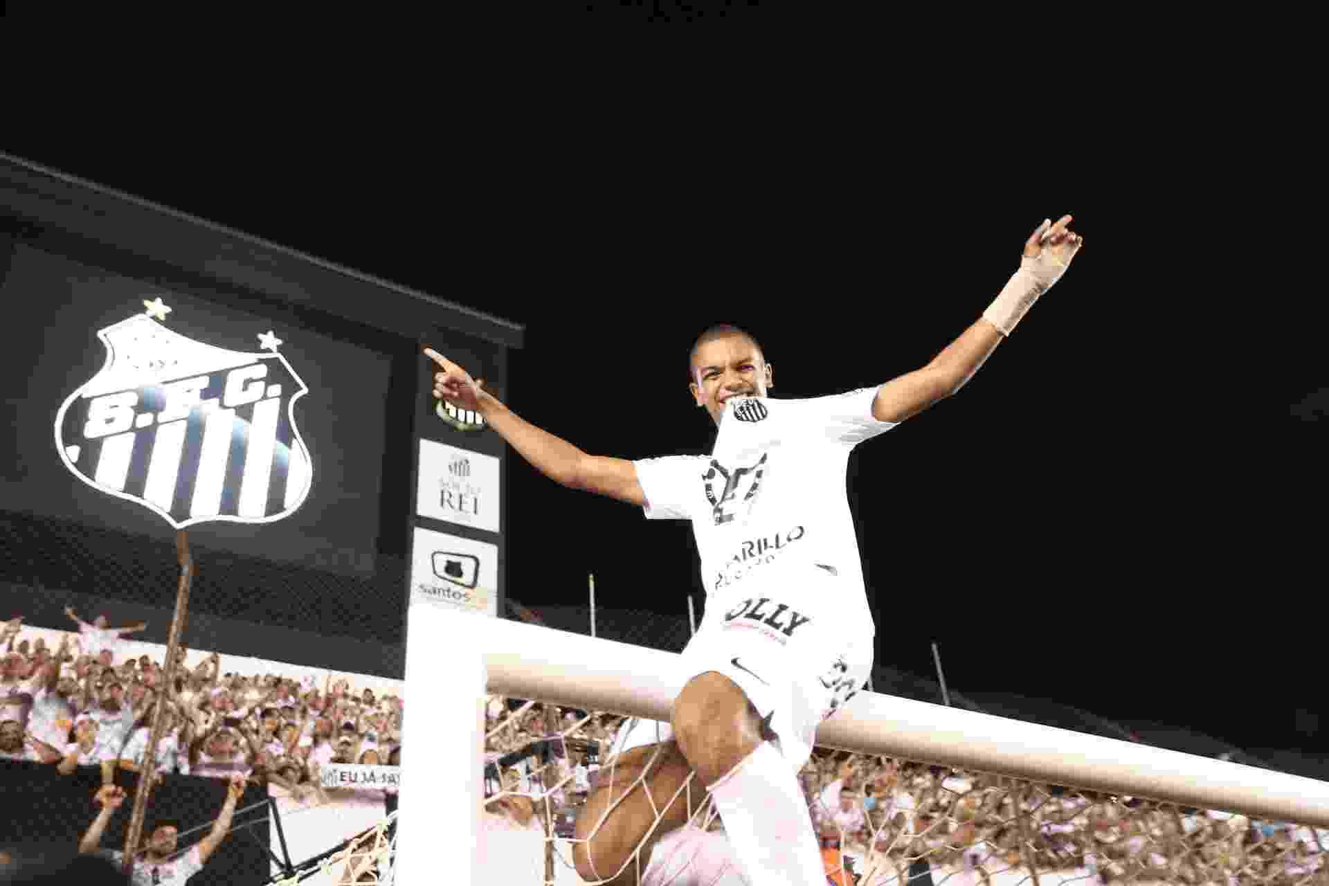David Braz sobe na trave da Vila Belmiro para comemorar o título de campeão Paulista - Danilo Verpa/Folhapress