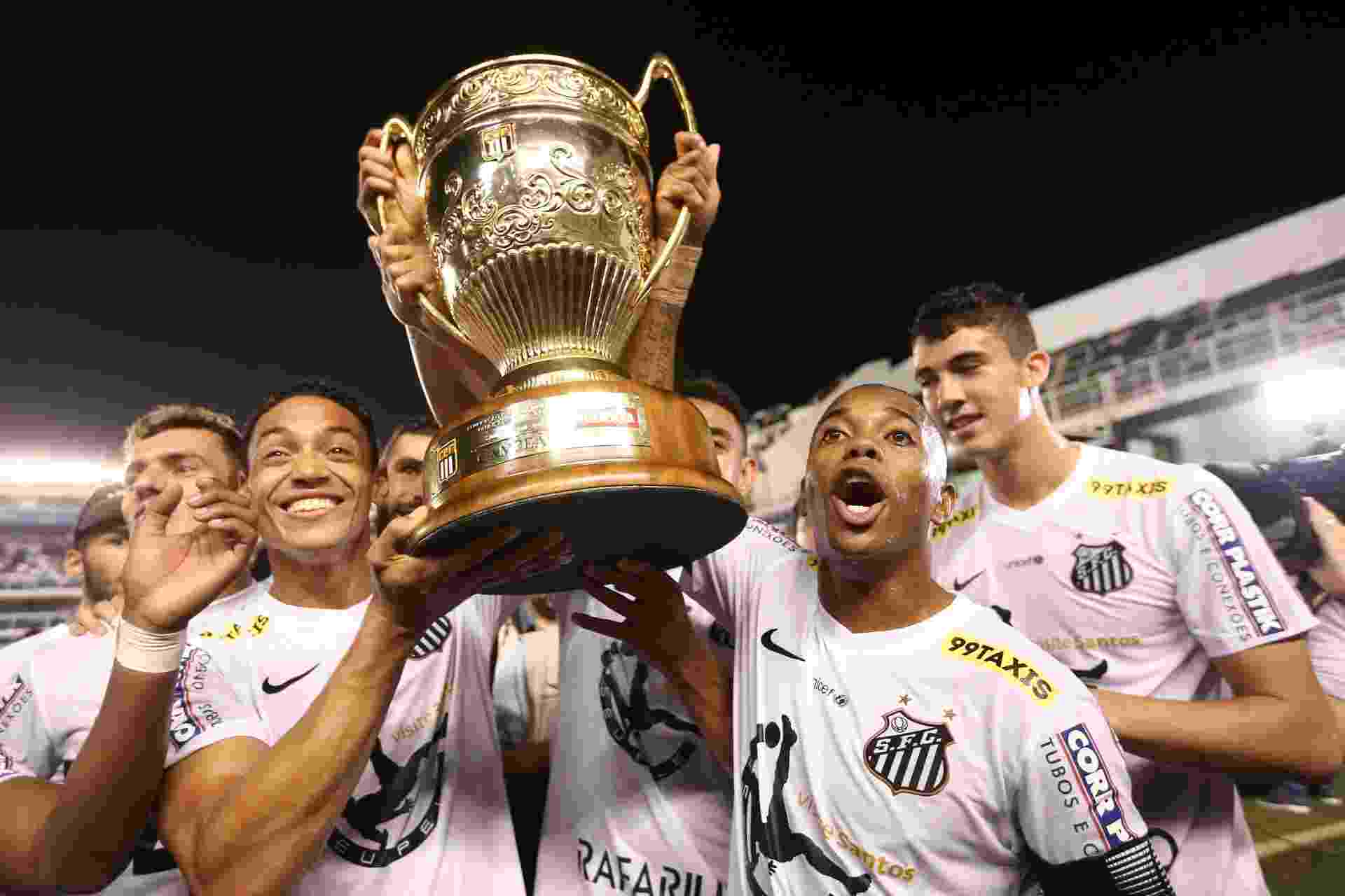 Ricardo Oliveira e Robinho erguem a taça após o Santos vencer o Campeonato Paulista - Danilo Verpa/Folhapress