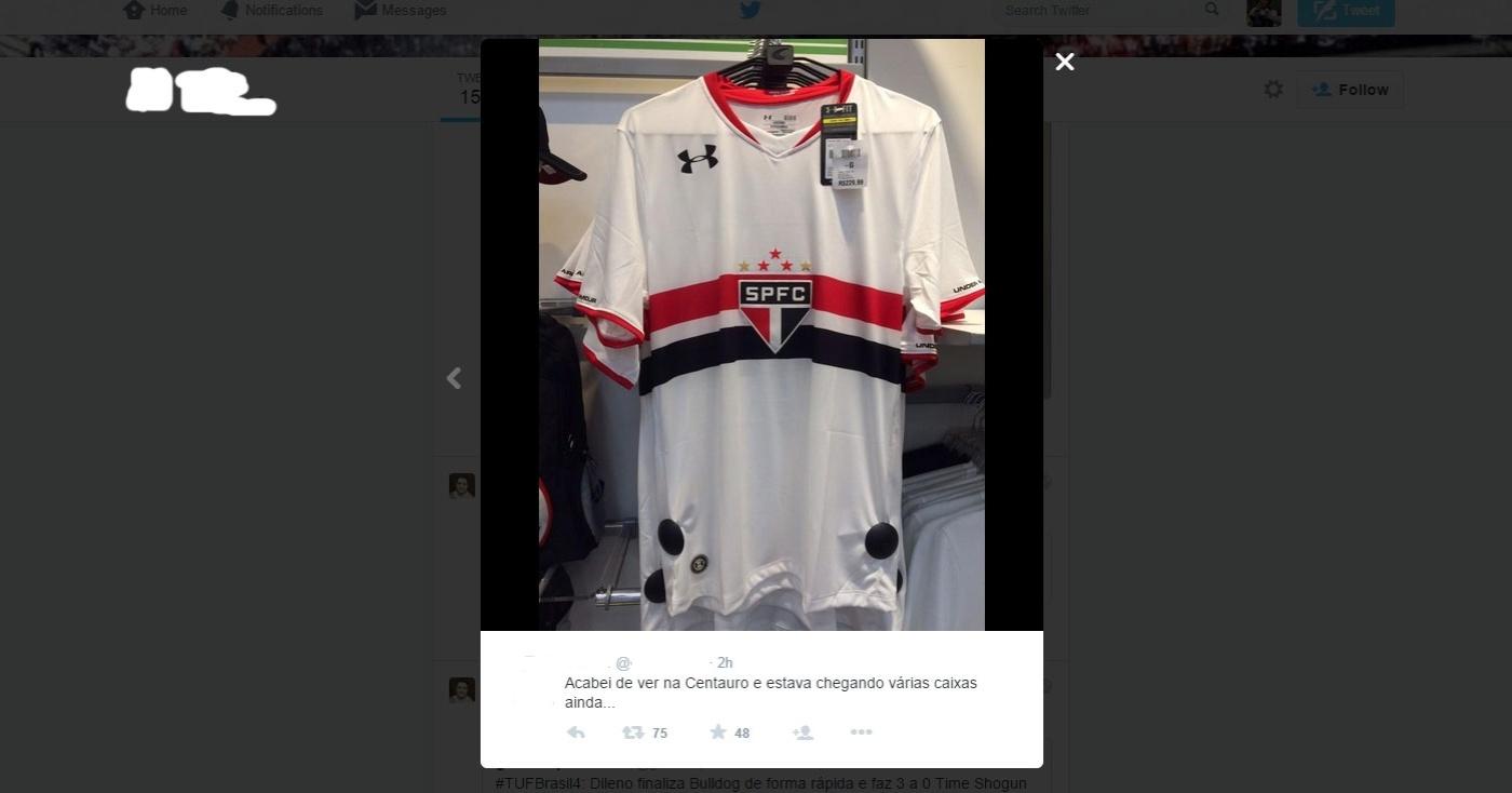 60fcbd01d1bb7 Nova camisa do São Paulo vaza no Twitter horas antes do lançamento -  04 05 2015 - UOL Esporte