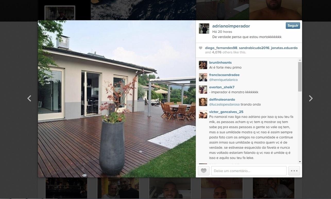 Mansão na Itália foi relembrada por Adriano nas redes sociais