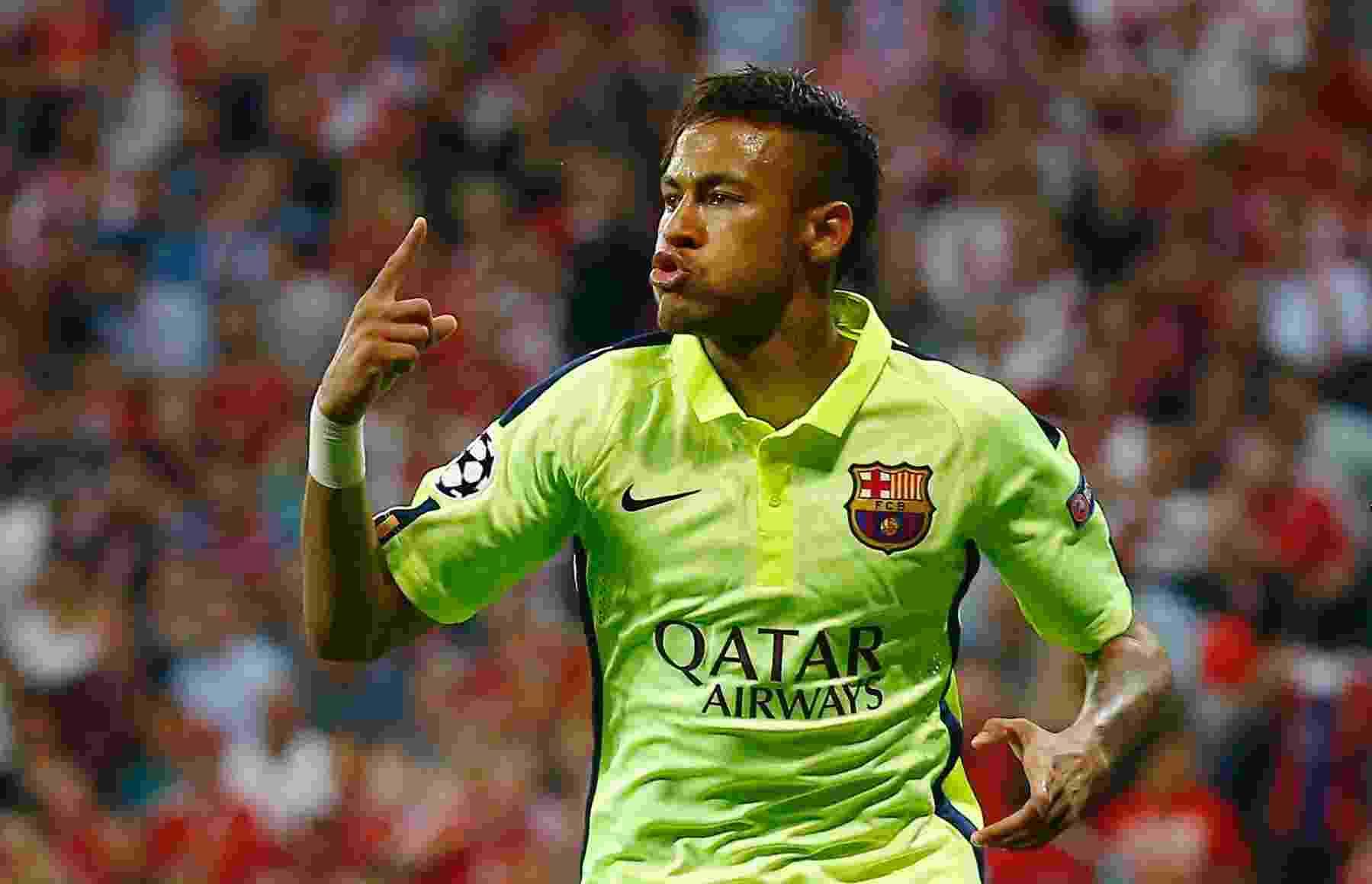 Neymar comemora o gol de empate do Barcelona com o Bayern de Munique - Kai Pfaffenbach/Reuters
