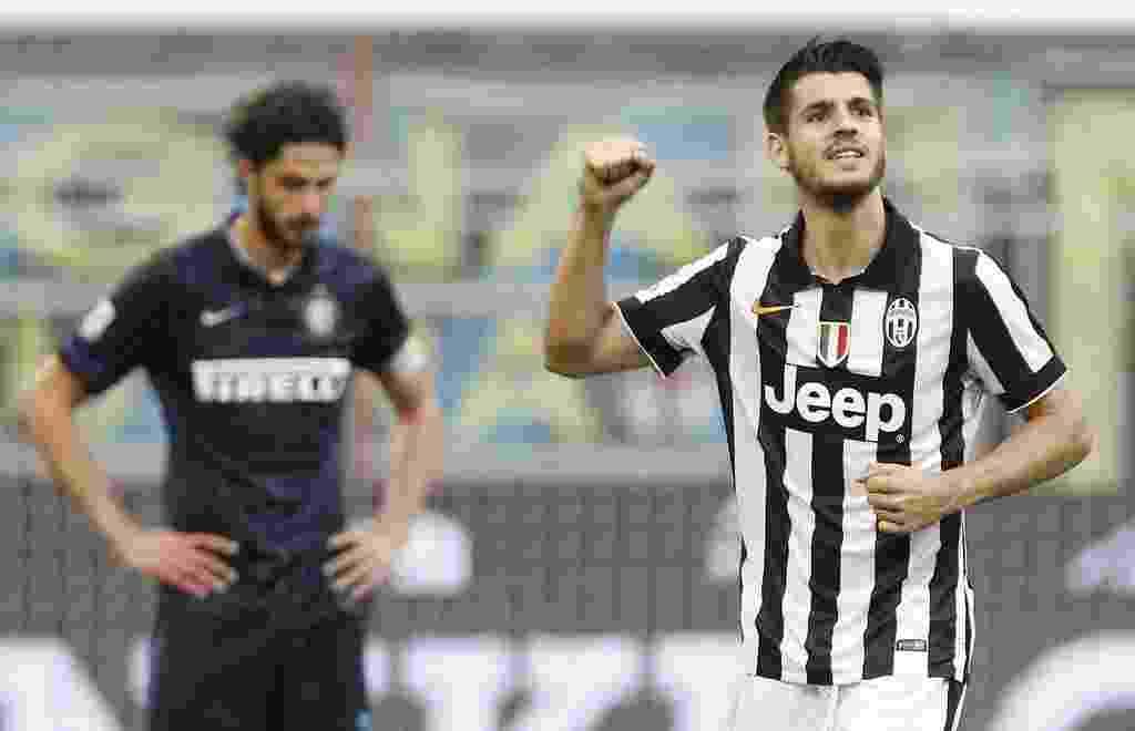 Autor do gol que classificou a Juventus para a final da Liga dos Campeões, Alvaro Morata voltou a marcar, desta vez na vitória do time contra a Inter, em Milão: 2 a 1, pelo Campeonato Italiano - REUTERS/Alessandro Garofalo
