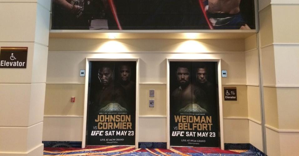 Elevadores do MGM Grand Hotel e Casino também já estão no clima do UFC 187